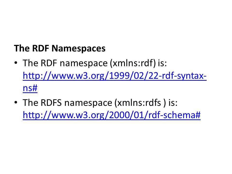 The RDF Namespaces The RDF namespace (xmlns:rdf) is: http://www.w3.org/1999/02/22-rdf-syntax-ns#