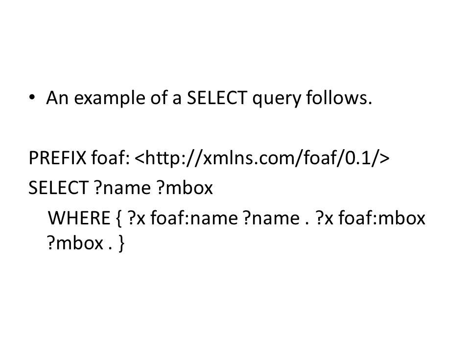 An example of a SELECT query follows.