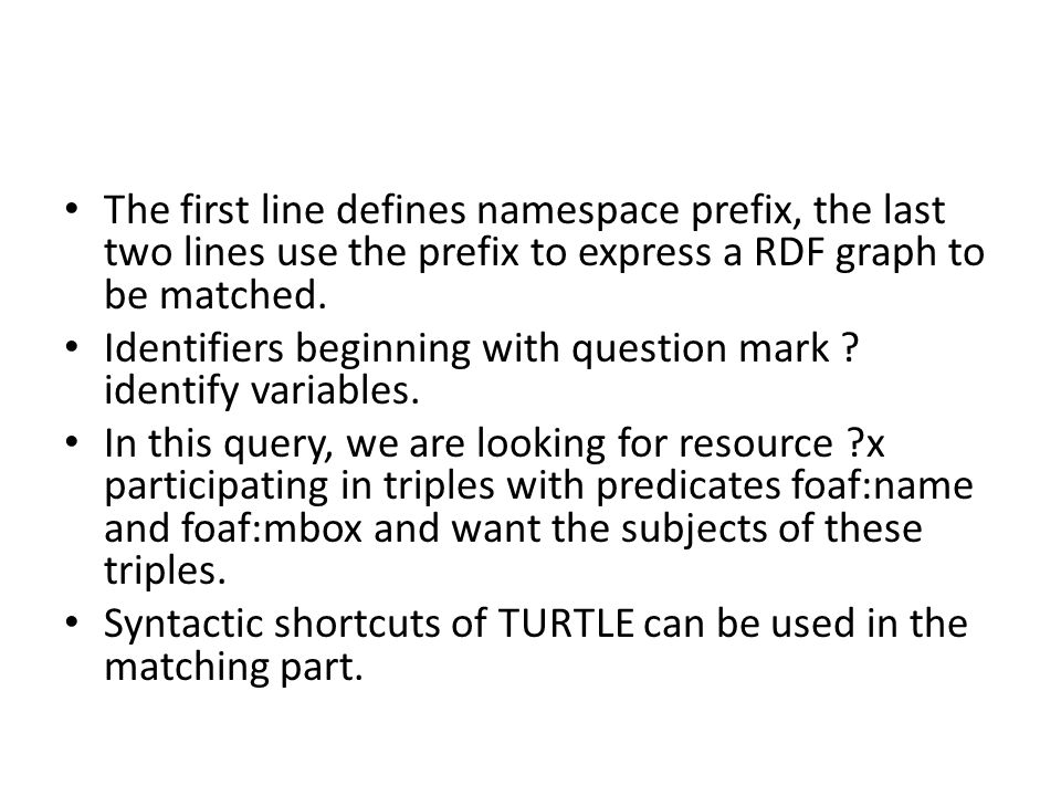 The first line defines namespace prefix, the last two lines use the prefix to express a RDF graph to be matched.