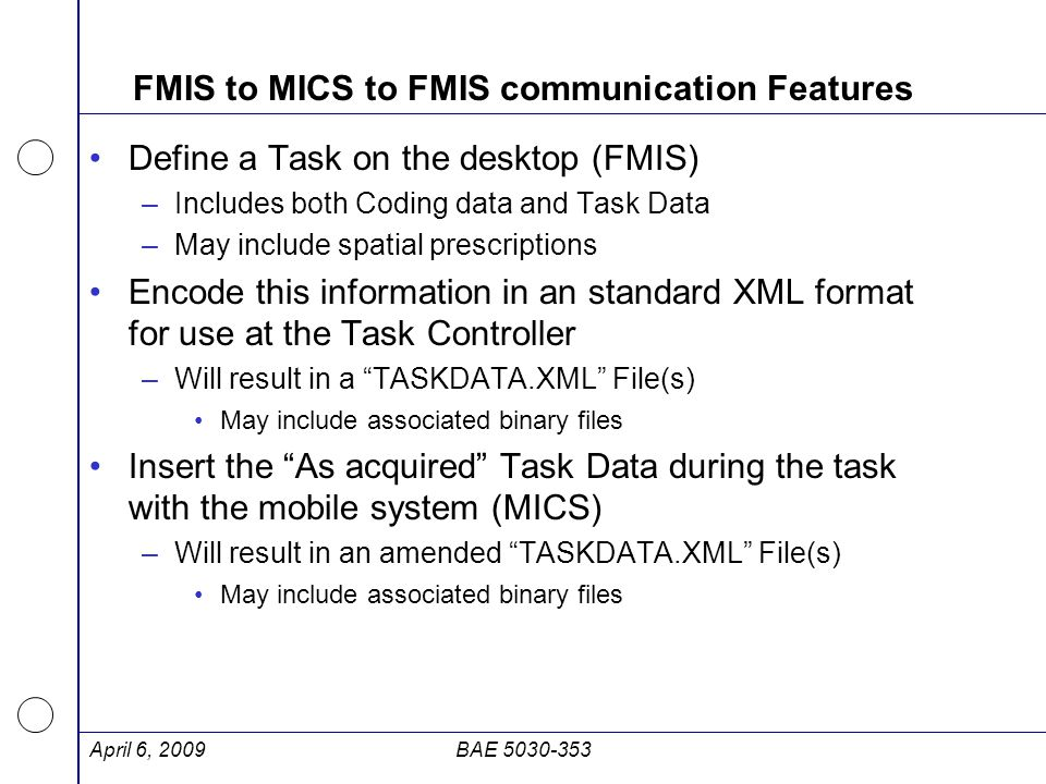 FMIS to MICS to FMIS communication Features