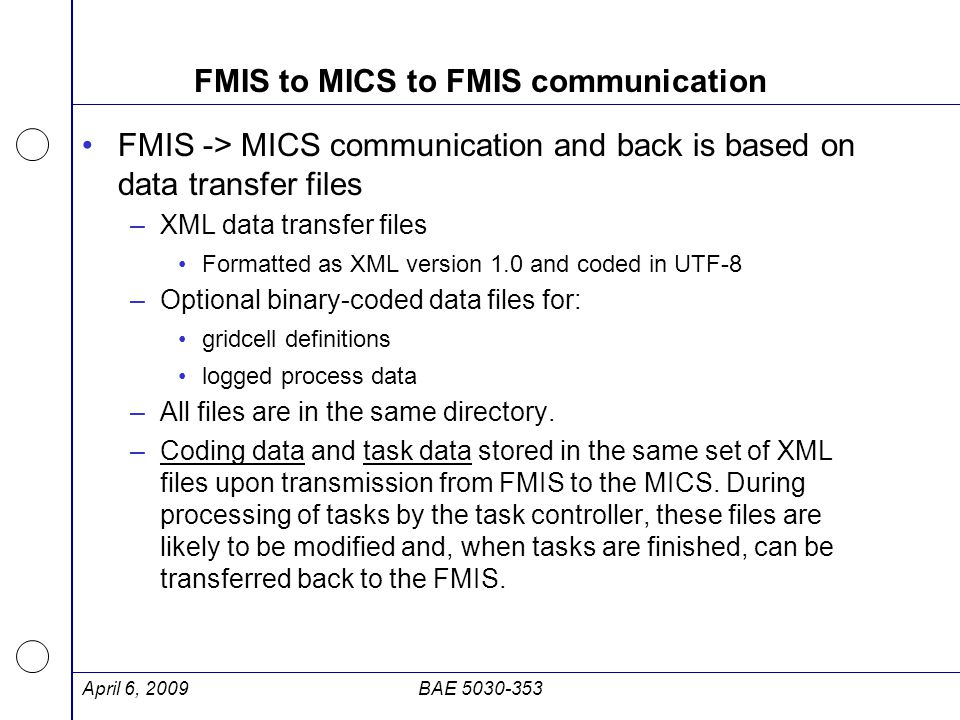 FMIS to MICS to FMIS communication