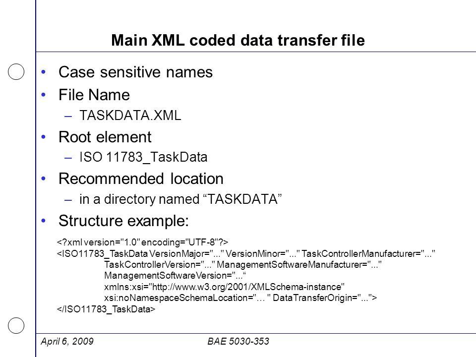 Main XML coded data transfer file