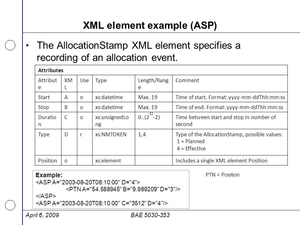 XML element example (ASP)