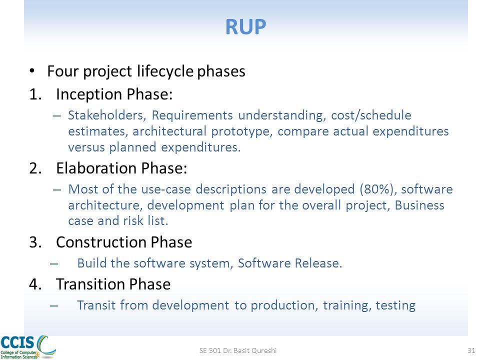 RUP Four project lifecycle phases Inception Phase: Elaboration Phase: