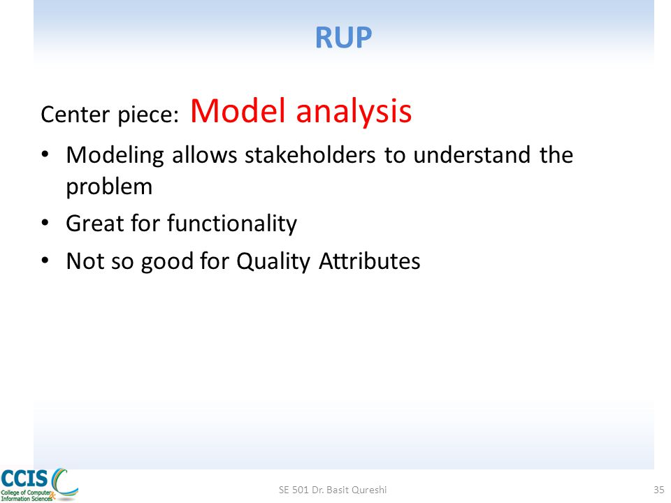 RUP Center piece: Model analysis