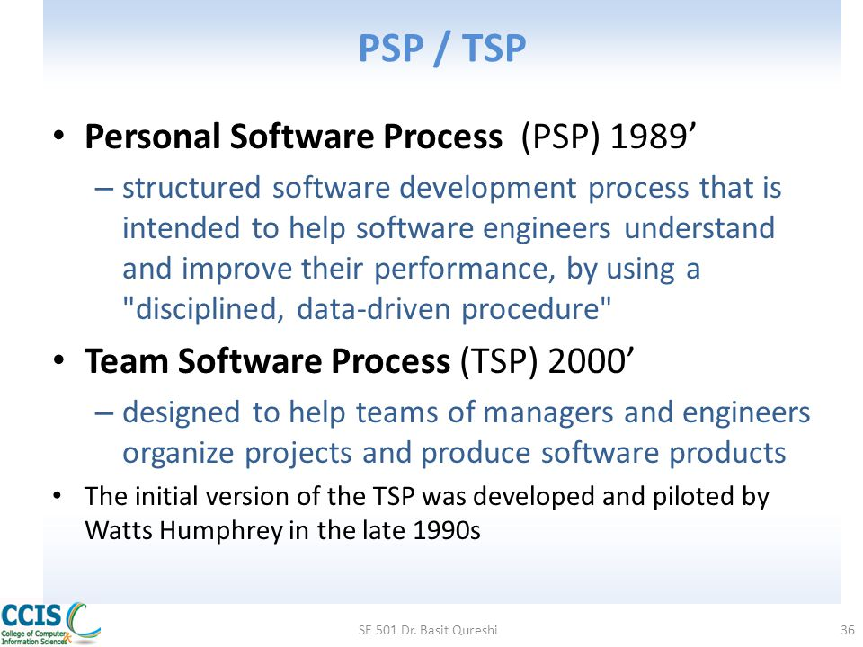 PSP / TSP Personal Software Process (PSP) 1989'