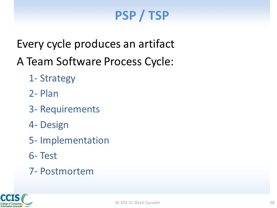 PSP / TSP Every cycle produces an artifact