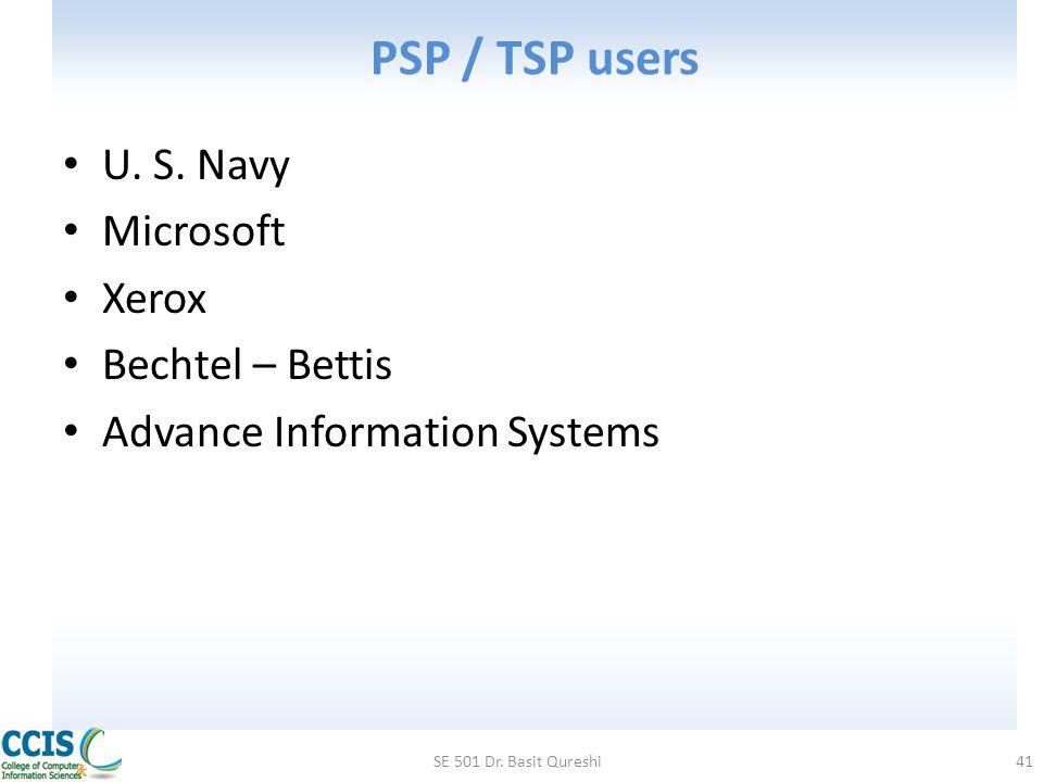 PSP / TSP users U. S. Navy Microsoft Xerox Bechtel – Bettis