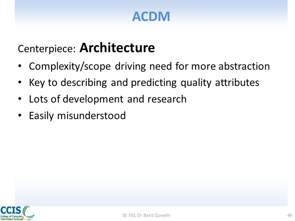ACDM Centerpiece: Architecture