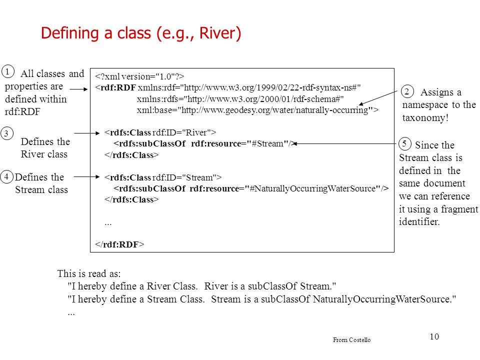 Defining a class (e.g., River)