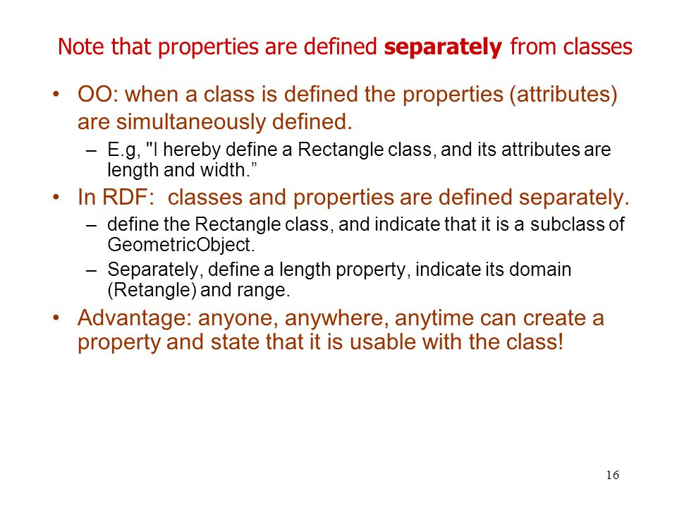 Note that properties are defined separately from classes