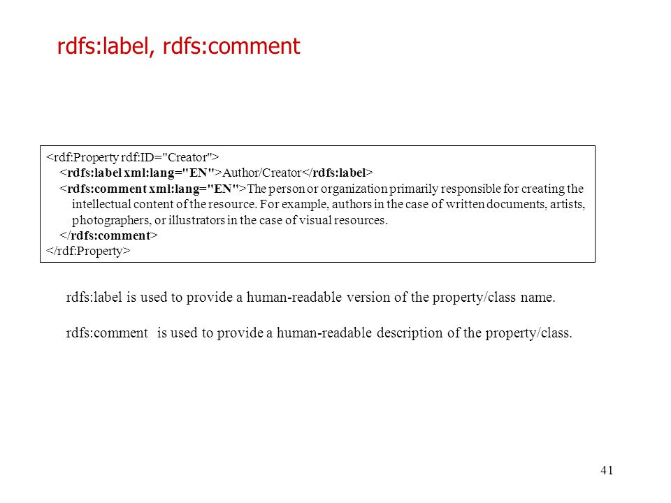 rdfs:label, rdfs:comment