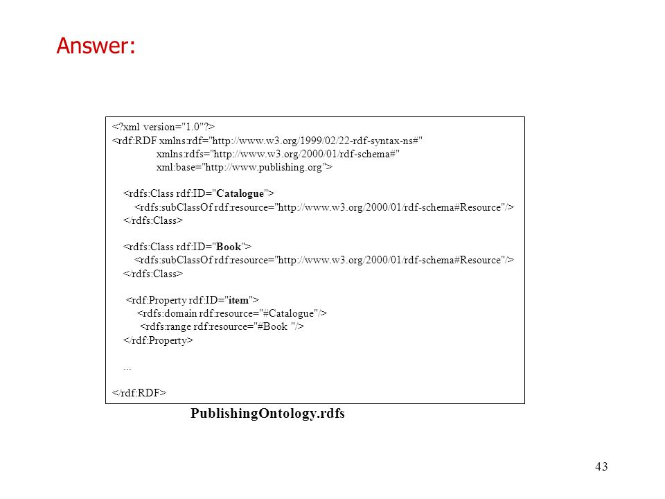 Answer: PublishingOntology.rdfs < xml version= 1.0 >