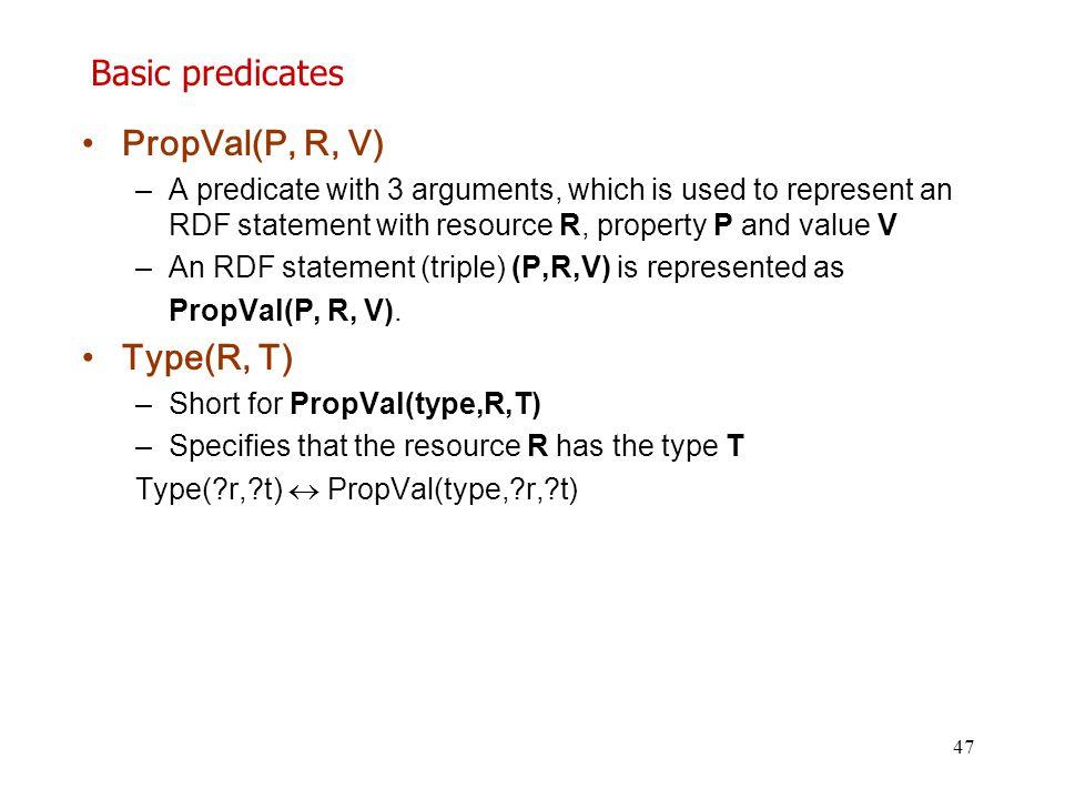 Basic predicates PropVal(P, R, V) Type(R, T)