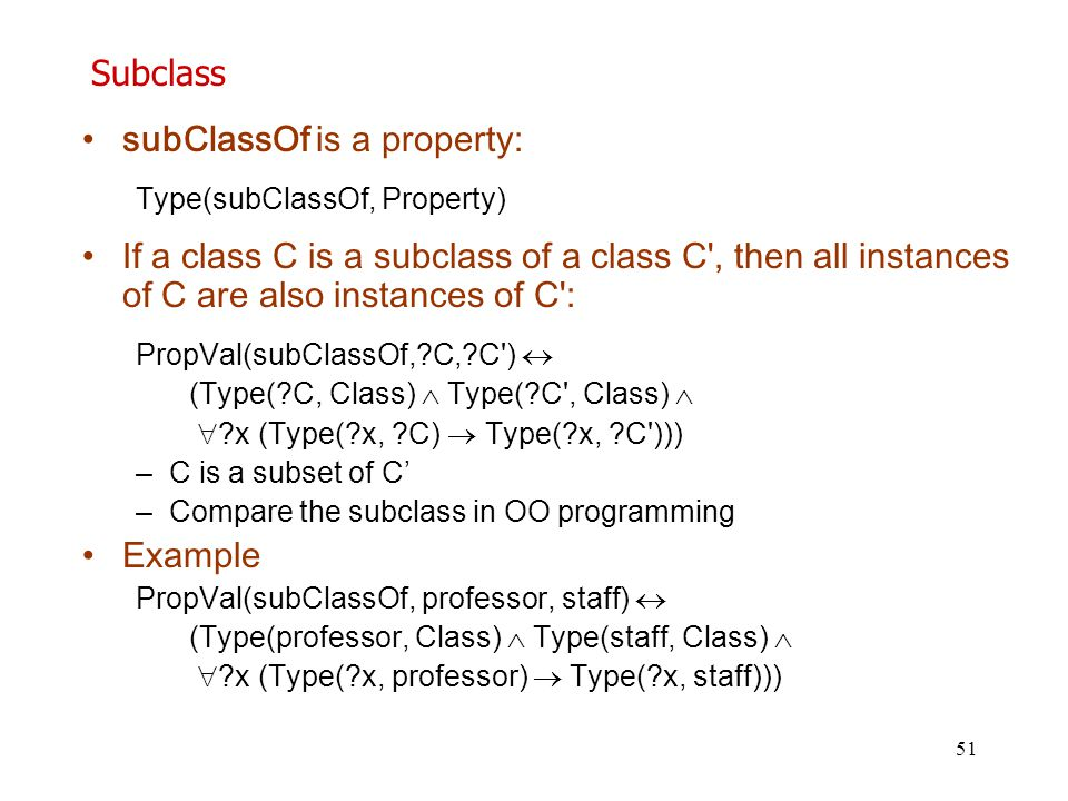 subClassOf is a property: