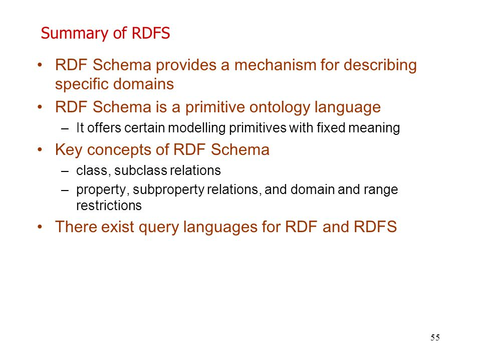 RDF Schema provides a mechanism for describing specific domains