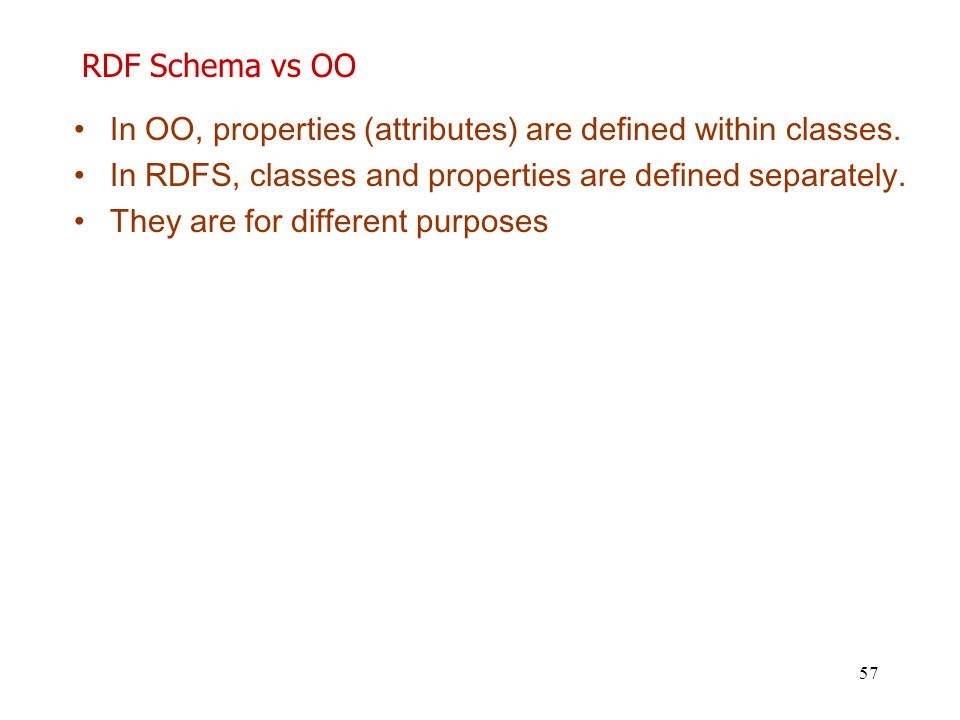RDF Schema vs OO In OO, properties (attributes) are defined within classes. In RDFS, classes and properties are defined separately.