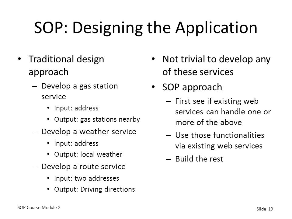 SOP: Designing the Application