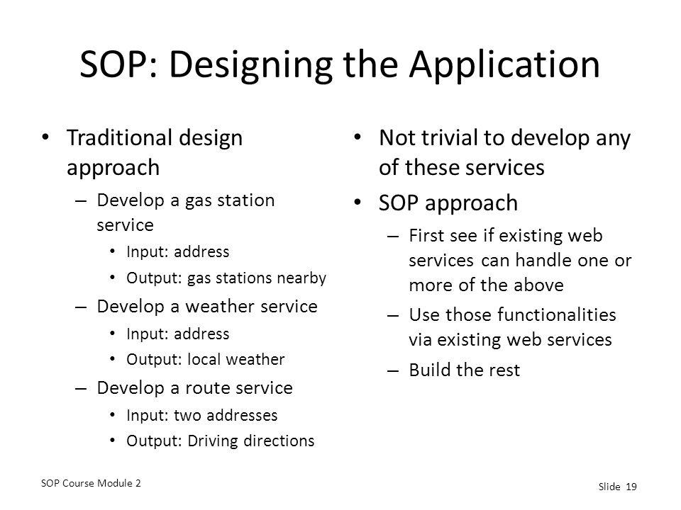 SOP: Designing the Application