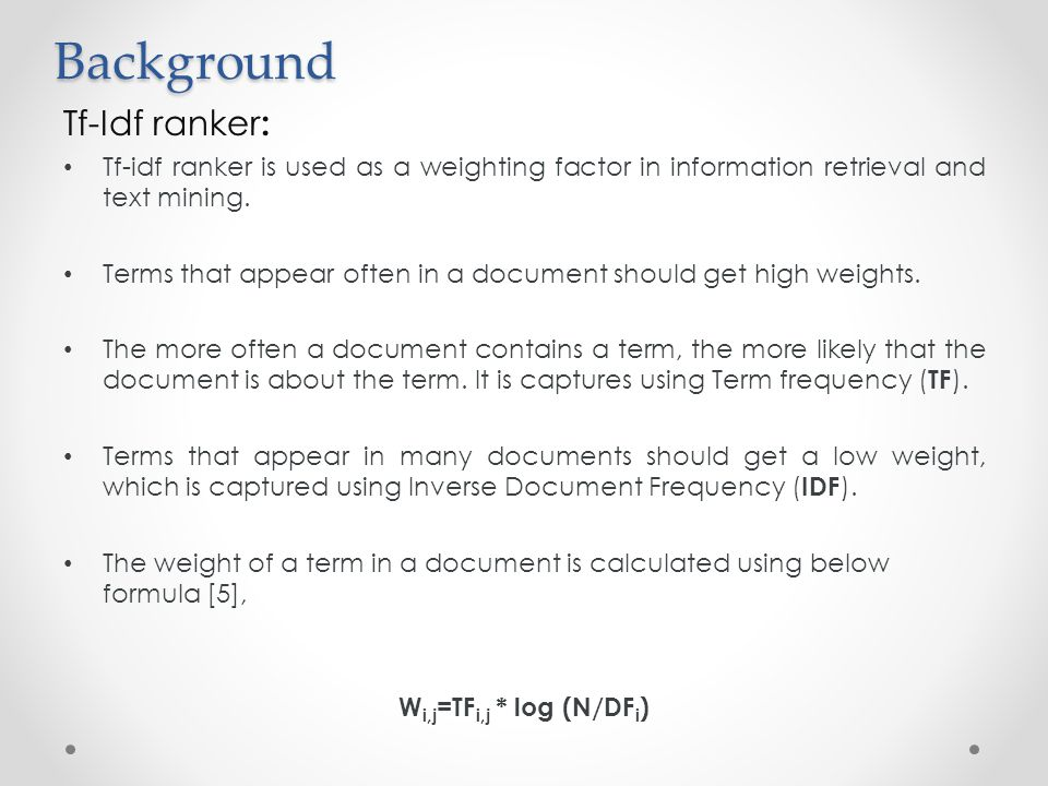 Background Tf-Idf ranker: