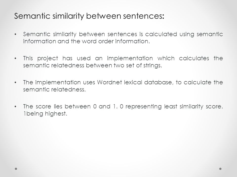Semantic similarity between sentences: