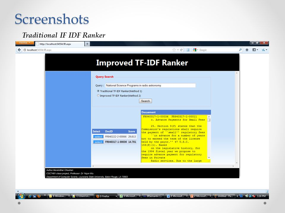 Screenshots Traditional IF IDF Ranker