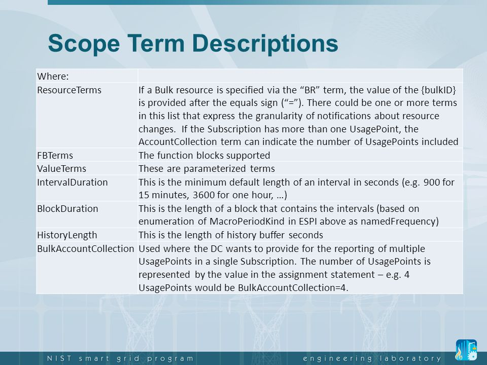 Scope Term Descriptions