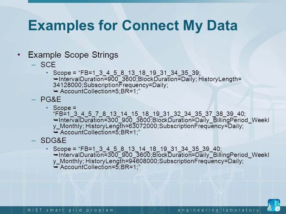 Examples for Connect My Data