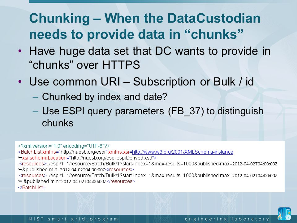 Chunking – When the DataCustodian needs to provide data in chunks
