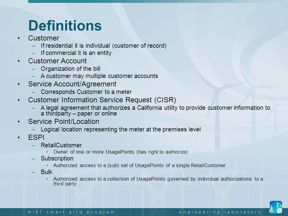 Definitions Customer Customer Account Service Account/Agreement