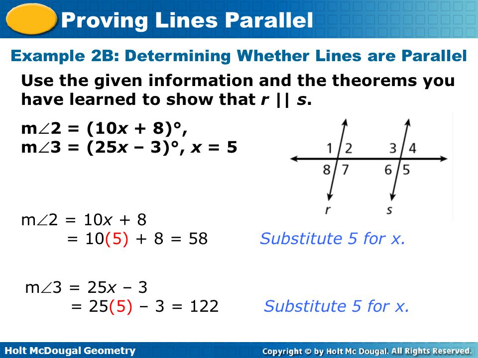 Example 2B: Determining Whether Lines are Parallel