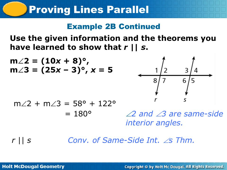Example 2B Continued Use the given information and the theorems you have learned to show that r || s.