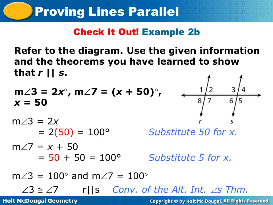 Check It Out! Example 2b Refer to the diagram. Use the given information and the theorems you have learned to show that r || s.