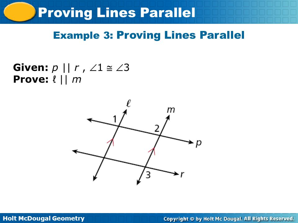 Example 3: Proving Lines Parallel