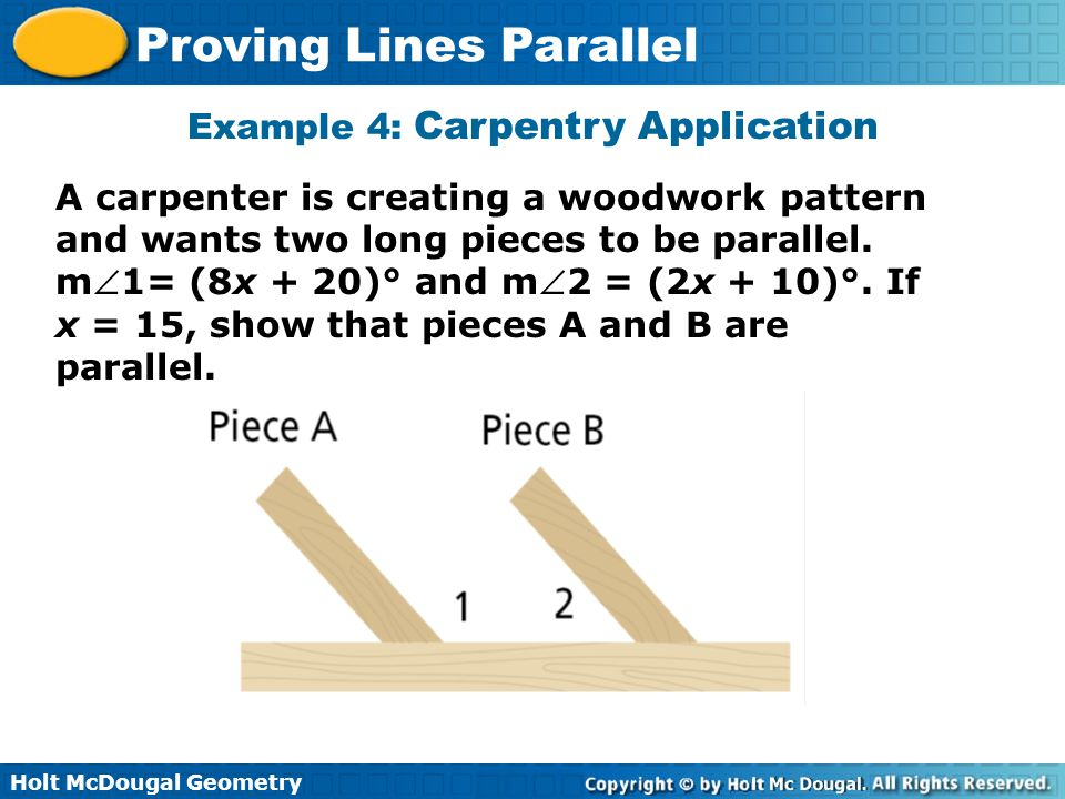 Example 4: Carpentry Application