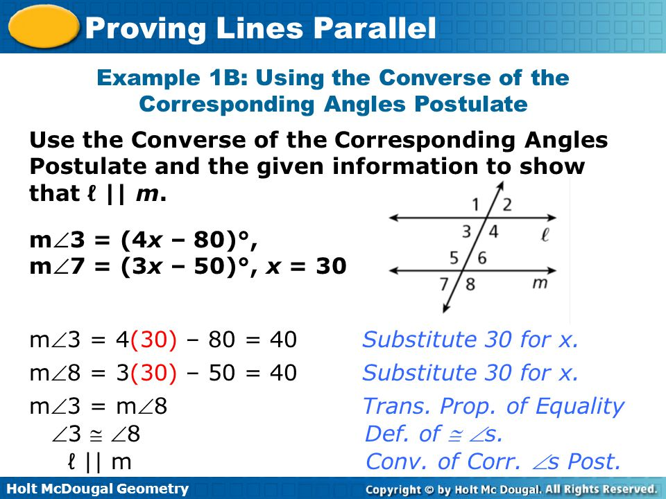 Example 1B: Using the Converse of the Corresponding Angles Postulate