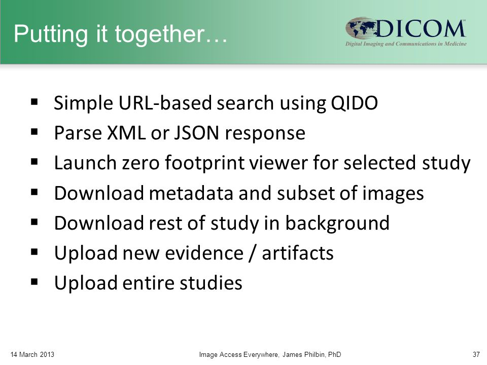 Putting it together… Simple URL-based search using QIDO