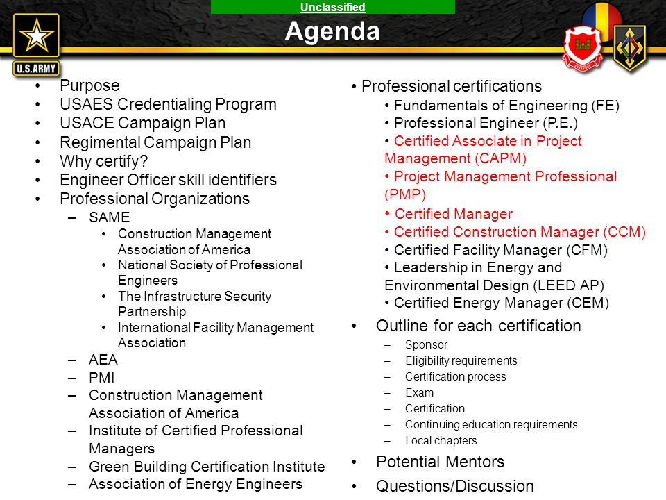 Agenda Professional certifications Certified Manager