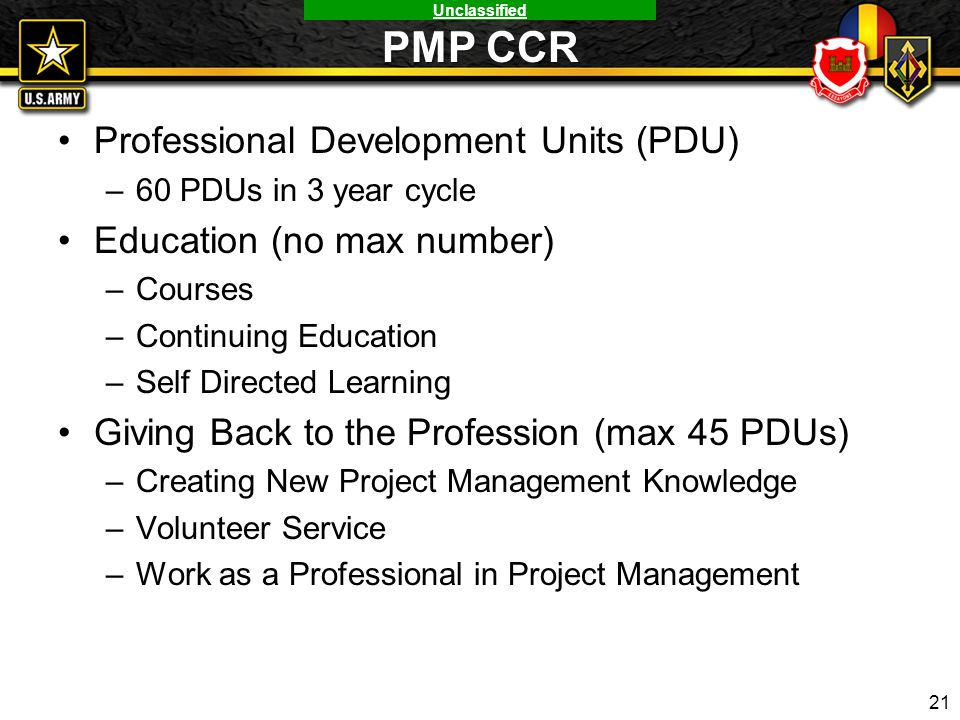PMP CCR Professional Development Units (PDU) Education (no max number)