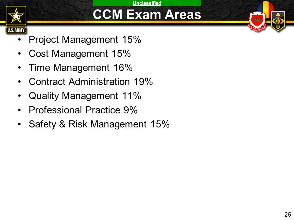 CCM Exam Areas Project Management 15% Cost Management 15%