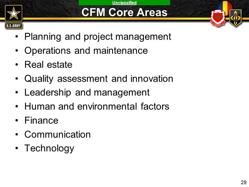 CFM Core Areas Planning and project management