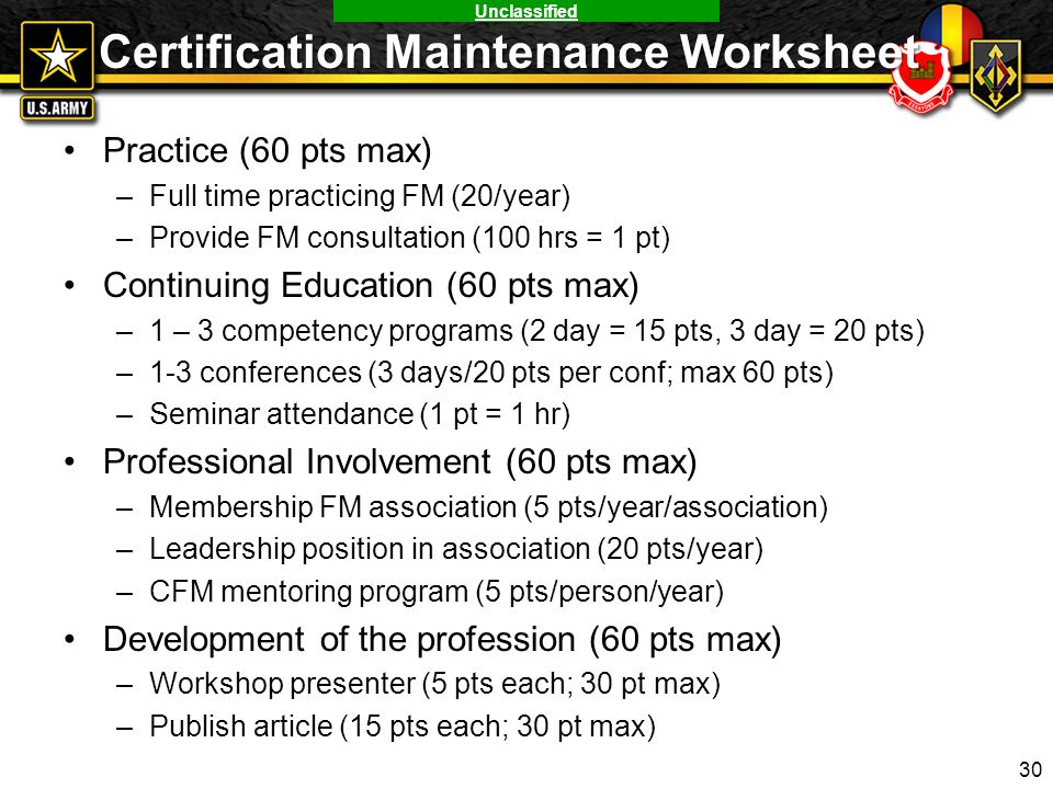 Certification Maintenance Worksheet
