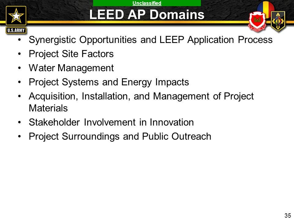 LEED AP Domains Synergistic Opportunities and LEEP Application Process