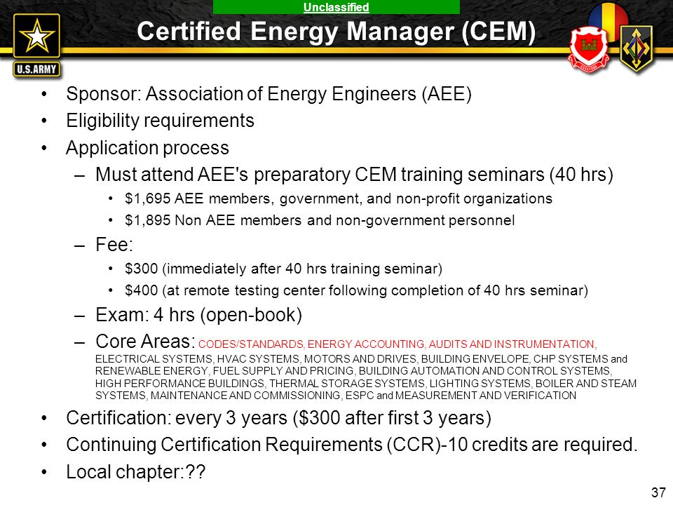 Certified Energy Manager (CEM)