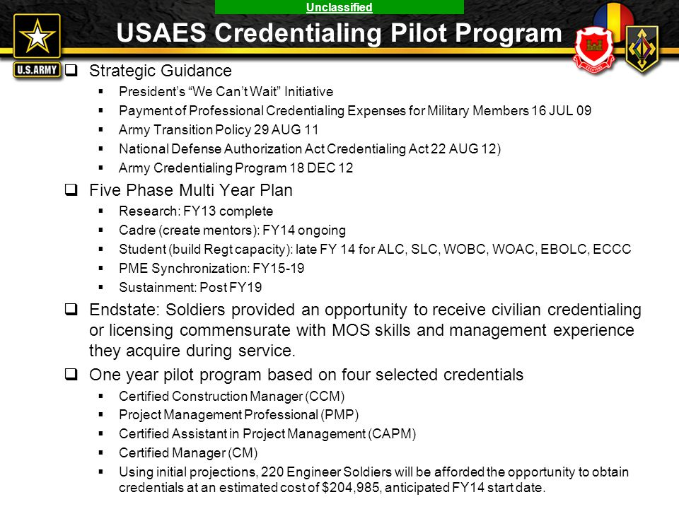 USAES Credentialing Pilot Program