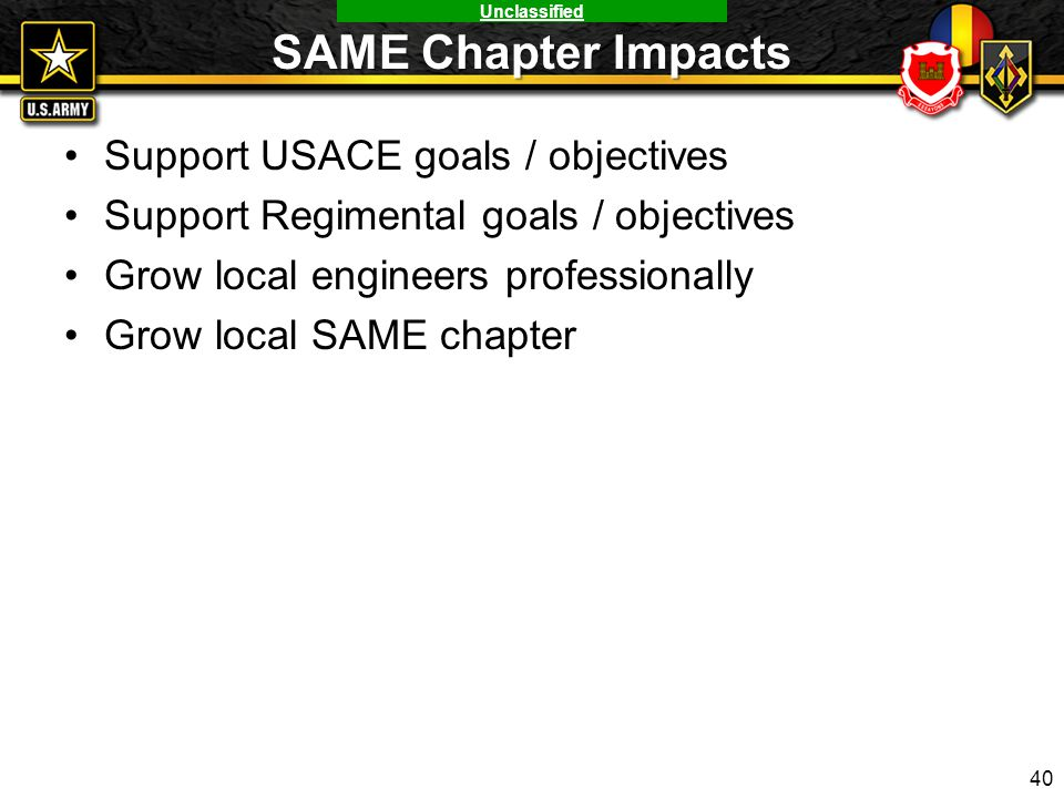 SAME Chapter Impacts Support USACE goals / objectives