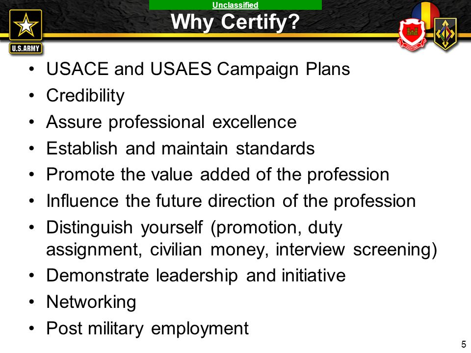 Why Certify USACE and USAES Campaign Plans Credibility