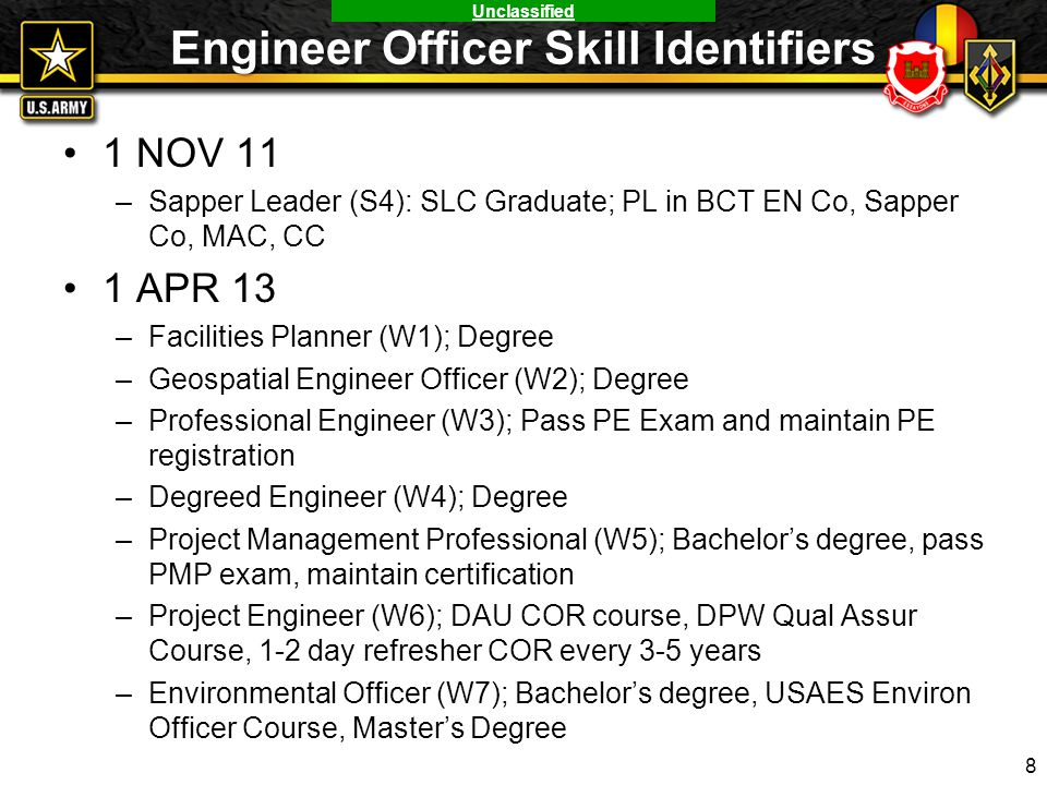 Engineer Officer Skill Identifiers