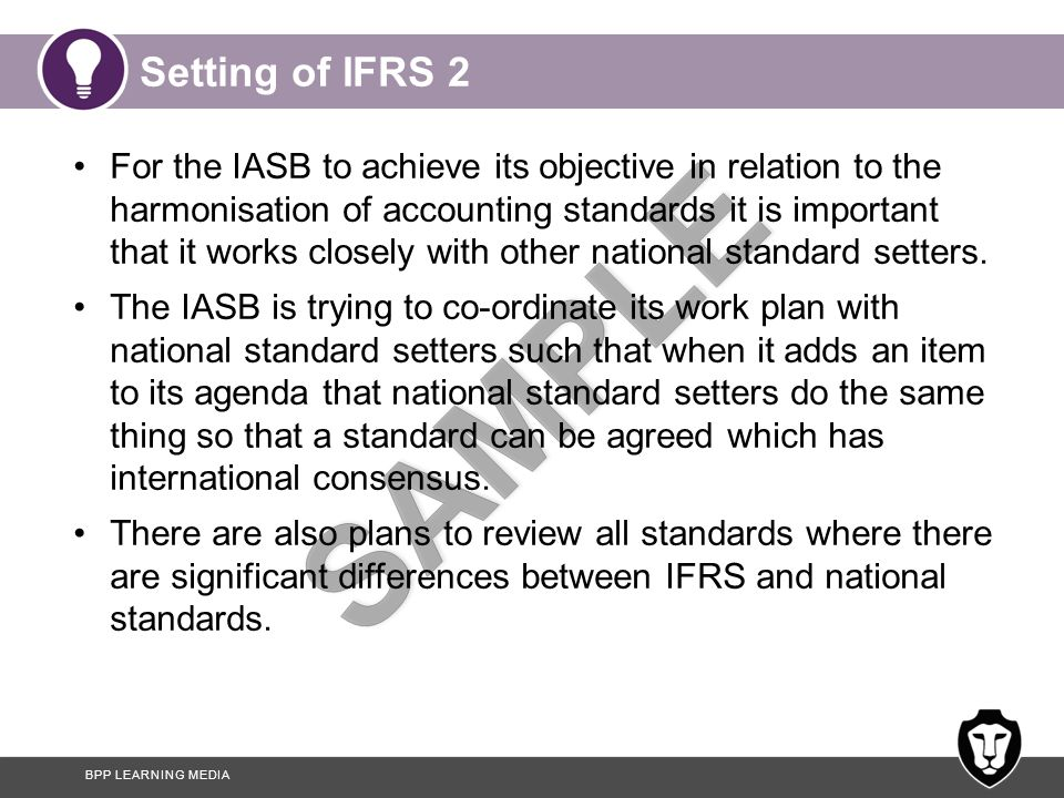 Setting of IFRS 2