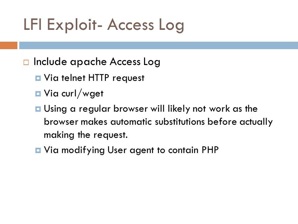 LFI Exploit- Access Log